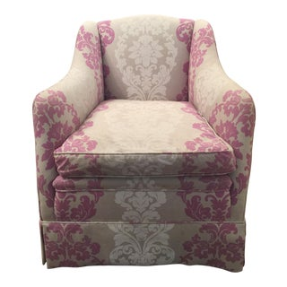 Pink & White Brocade Slipper Chair