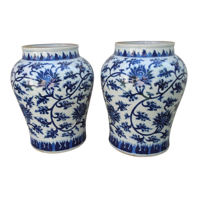 Hand-Painted Chinoiserie Urns- A Pair - Image 1 of 5