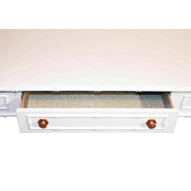Thomasville Vintage Faux-Bamboo White Desk - Image 8 of 9