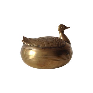 Brass Swan Trinket Box