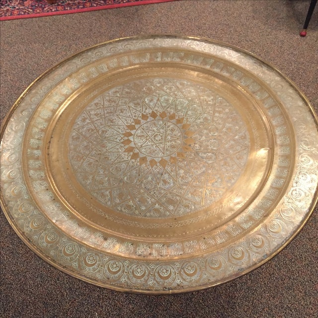 Moroccan Brass Tea Table - Image 3 of 6