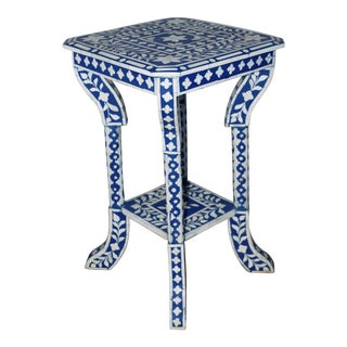 Indian Blue Bone Inlay Side Table