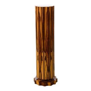 Antique Art Deco Burled Marbleized Walnut Pedestal