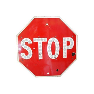 Authentic Enameled Reflective Button Stop Sign
