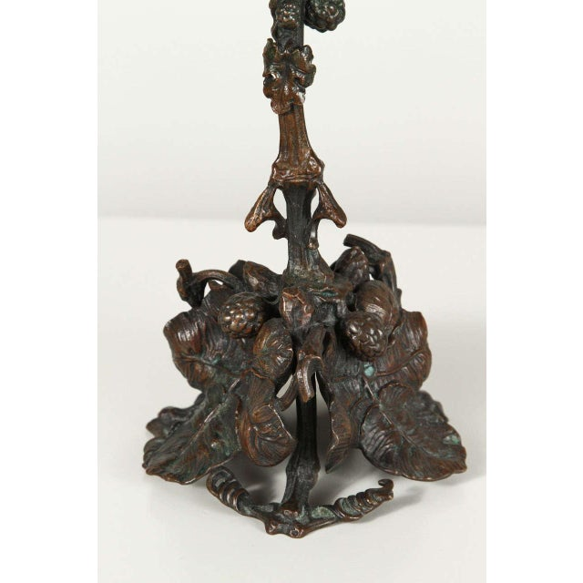 Image of Pair of Art and Crafts Bronze Candlesticks