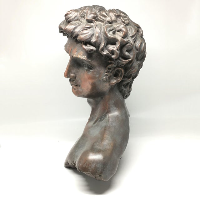 Vintage Neoclassical Roman Plaster Male Bust of David - Image 3 of 6