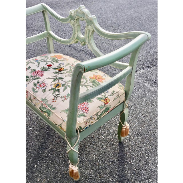Antique Green French Provincial Carved Wood Small Bench Settee - Image 5 of 11