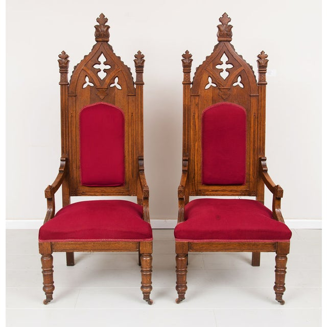 1800s Vintage Victorian Walnut Arm Chairs - Pair - Image 2 of 5