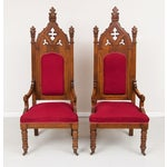 Image of 1800s Vintage Victorian Walnut Arm Chairs - Pair