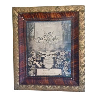 Antique Victorian Mourning Lithograph in Gilt Wood Frame