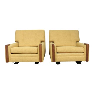 Martin Borenstein Mid-Century Yellow Recliners - A Pair