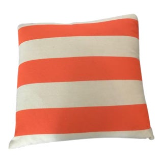 Square Decorative Pillow with Neon Orange Donghia Fabric