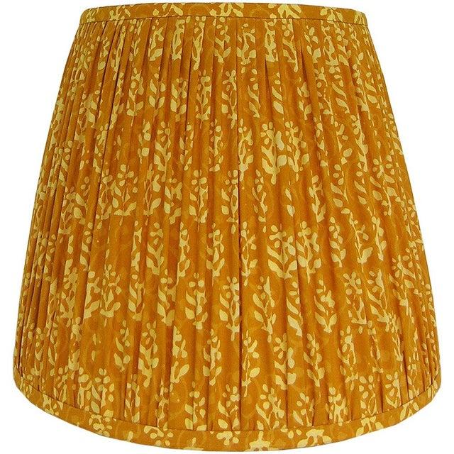 Medium Mustard Yellow Indian Block Print Gathered Lamp