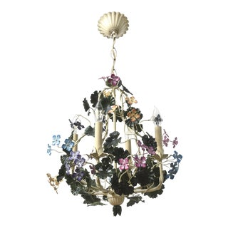 Multicolor Tole Flower Chandelier