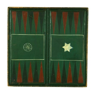 """PENNSYLVANIA BACKGAMMON BOARD, SIGNED """"WISE"""" WITH IMAGES OF A WAGON WHEEL AND A STAR OF DAVID, 1850-1880"""