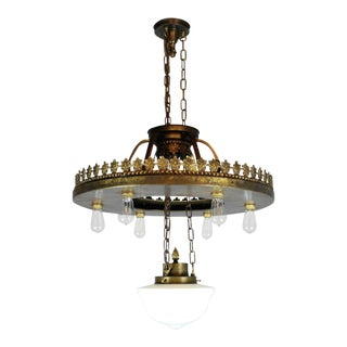 Large Industrial Bare Bulb Seven-Light Fixture