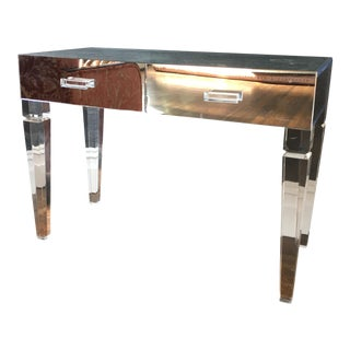 Lucite and Mirrored Glass Vanity Table and Stool