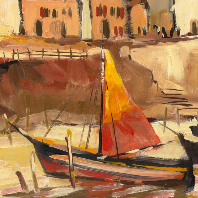 Image of Breton Harbor Scene Oil Painting