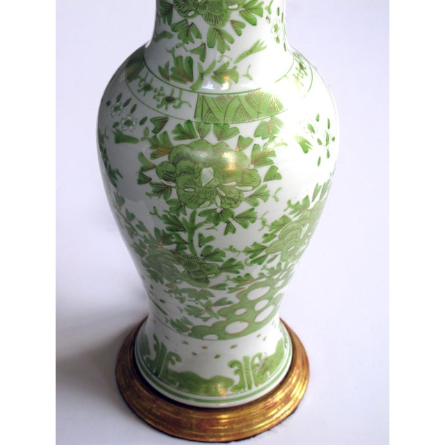 A pair of finely painted Japanese baluster-form porcelain lamps with apple green and gilt decoration - Image 2 of 3