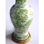 Image of A pair of finely painted Japanese baluster-form porcelain lamps with apple green and gilt decoration