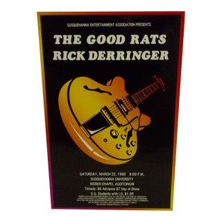 """""""The Good Rats - Rick Derringer"""" 1980 Concert Poster"""