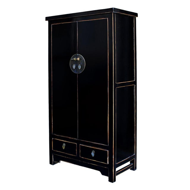 Chinese Distressed Black Storage Cabinet - Image 2 of 5