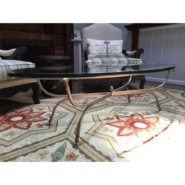 Maison Jansen Brass Ram's Head Oval Coffee Table - Image 5 of 9