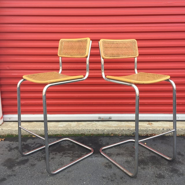 Mid-Century Cane Cesca Bar Stools With Chrome by Marcel Breuer - A Pair - Image 2 of 8