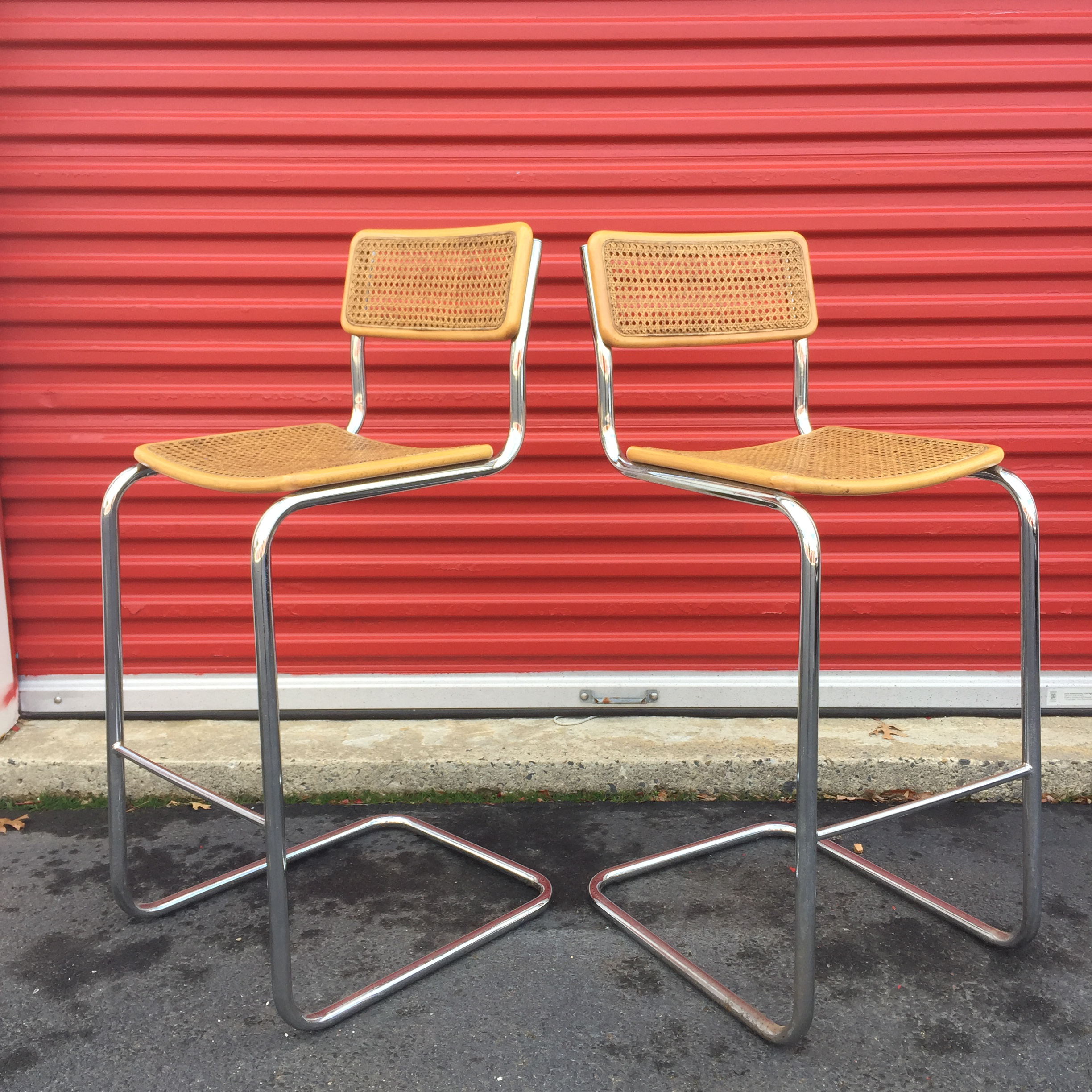 Mid Century Cane Cesca Bar Stools With Chrome By Marcel