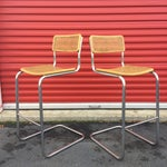 Image of Mid-Century Cane Cesca Bar Stools With Chrome by Marcel Breuer - A Pair