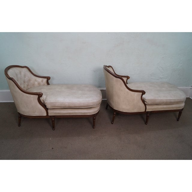 French louis xvi tufted chaise lounges a pair chairish for Chaise louis xvi