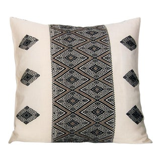 Mexican Boho Chic Handwoven Diamonds Geometric Pattern Pillow Cover