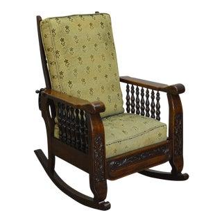 Antique Victorian Oak Recliner Morris Rocker Arm Chair