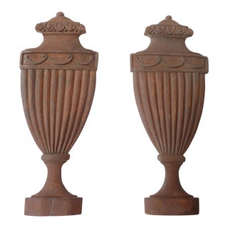 Architectural Classical Urn Carvings - a Pair