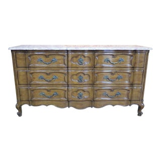 Walnut French Style Marble Top Dresser