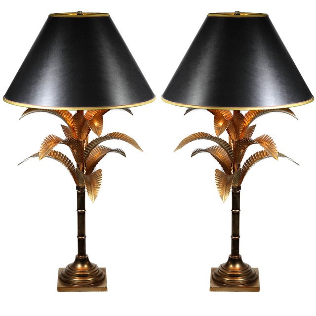 Image of 1940s Hollywood Regency Solid Brass Lamps - Pair