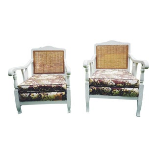 Mid-Century Cane King's & Queen's Chairs - A Pair