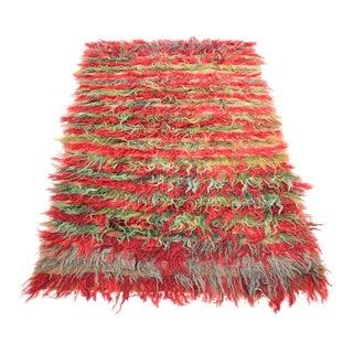Angora Wool Vintage Tribal Nomadic Handmade Tulu Moroccan Style Antique Turkish Rug - 4' X 6'2