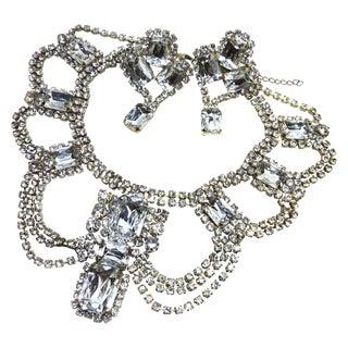 Czech Clear Rhinestone Necklace & Earrings Set