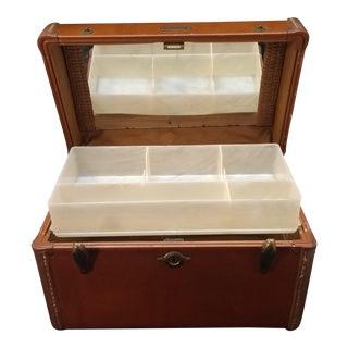 Vintage Leather Luggage. Mid-Century Samsonite Leather Train Case