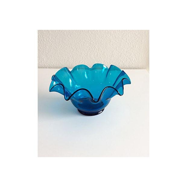 Electric Blue Bischoff Ruffled Glass Bowl - Image 2 of 5