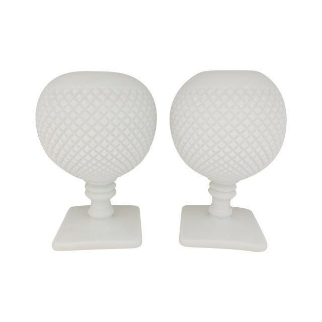 Milk Glass Diamond Point Vases - A Pair - Image 1 of 5