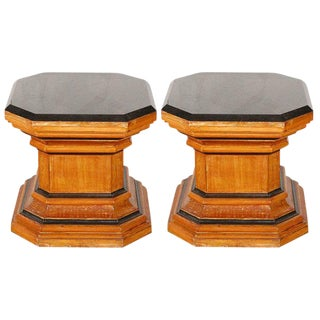Octagonal Pedestal Coffee Tables with Marble Tops - A Pair