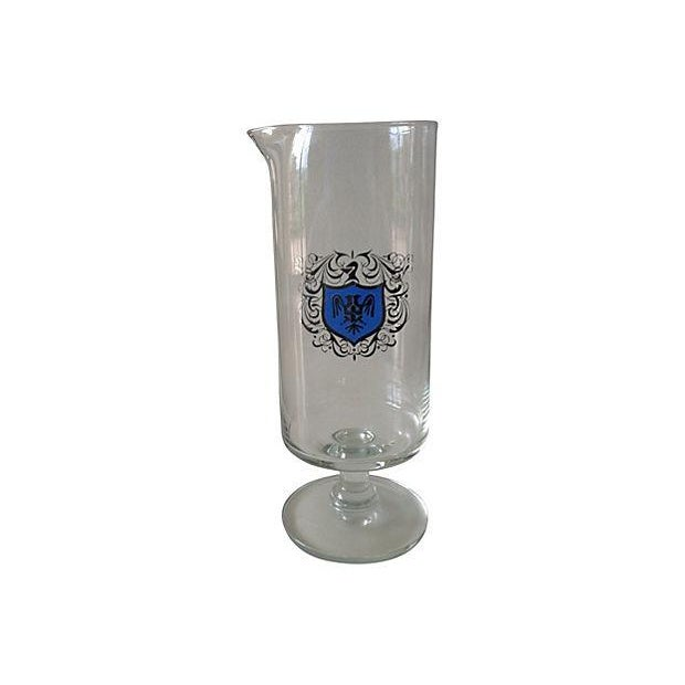 Footed Cocktail Mixer With Silver & Blue Crest - Image 1 of 4