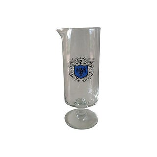 Footed Cocktail Mixer With Silver & Blue Crest