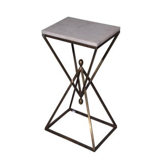 Marble Top Metal Rectangular Accent Table