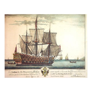 Engraving of H.M.S. Blenheim By A. Roublard after Isaac Sailmaker