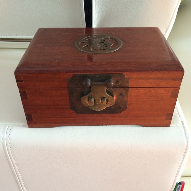 Vintage Chinese Rosewood & Brass Box - Image 2 of 6