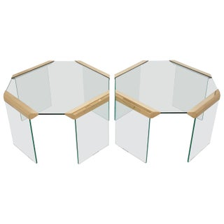 Pace Brass Glass Waterfall Octagon Side End Tables - a Pair