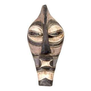 African Songye Black and White Tribal Mask